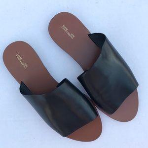 Diane Von Furstenberg Black Leather Slides Size 7